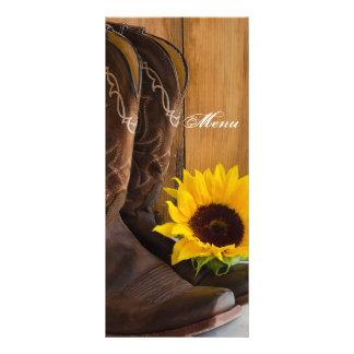 Menu do casamento do girassol do país 10.16 x 22.86cm panfleto
