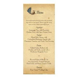 Menu do casamento do monograma do pavão do vintage 10.16 x 22.86cm panfleto