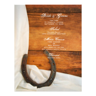 Menu do casamento do país da ferradura e do cetim flyer 21.59 x 27.94cm