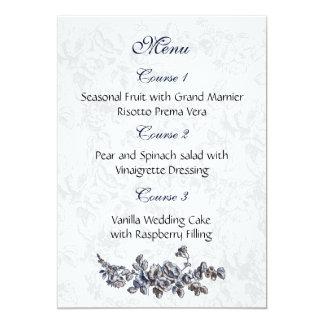 """menu do casamento dos """"azuis marinhos"""" convite 12.7 x 17.78cm"""