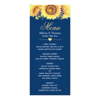 Menu do casamento dos azuis marinhos dos girassóis