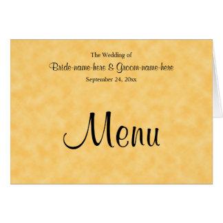 Menu do casamento no amarelo e no preto cartão de nota