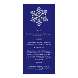 Menu do floco de neve do inverno (azul) 10.16 x 22.86cm panfleto