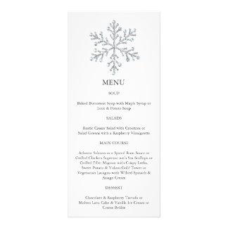 Menu do floco de neve do inverno (branco) 10.16 x 22.86cm panfleto