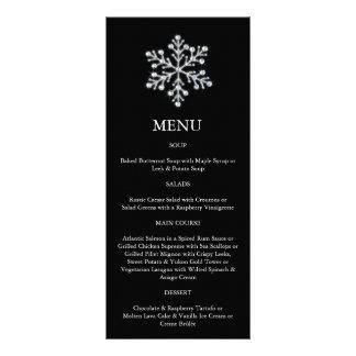 Menu do floco de neve do inverno (preto) 10.16 x 22.86cm panfleto
