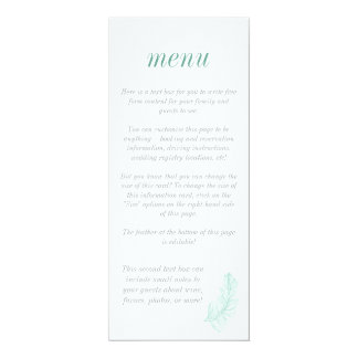 Menu do na moda do Birds of a Feather da cerceta Convite 10.16 X 23.49cm