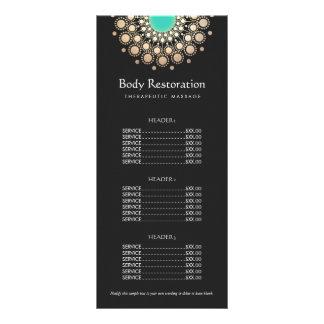 Menu do preto e da tabela de preços do motivo do 10.16 x 22.86cm panfleto