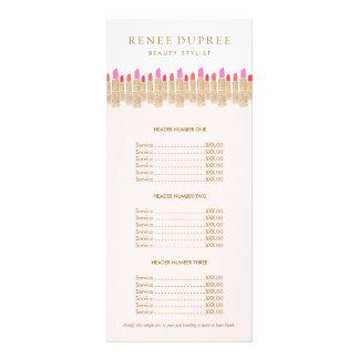 Menu do serviço do maquilhador do rosa do batom do 10.16 x 22.86cm panfleto