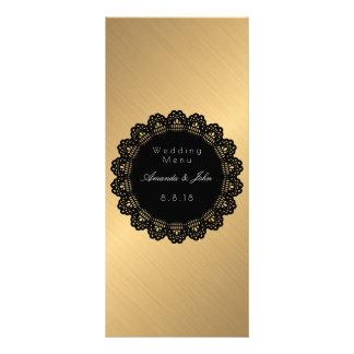 Menu dourado do casamento do círculo do preto da 10.16 x 22.86cm panfleto