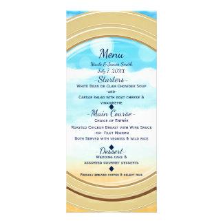 Menu elegante do casamento do cruzeiro da praia do 10.16 x 22.86cm panfleto