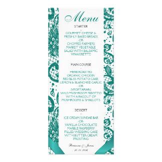 Menu elegante do casamento do laço - cerceta 10.16 x 22.86cm panfleto