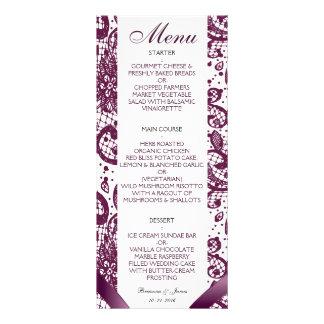 Menu elegante do casamento do laço - roxo 10.16 x 22.86cm panfleto
