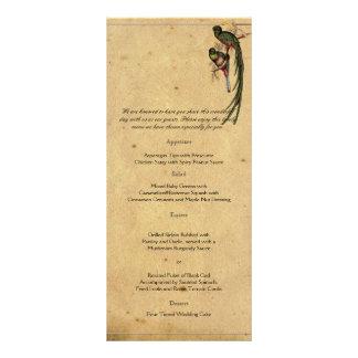 Menu elegante do casamento do pássaro de quetzal 10.16 x 22.86cm panfleto