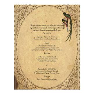 Menu elegante do casamento do pássaro de quetzal d panfletos personalizado