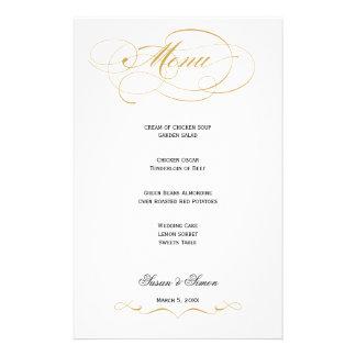 Menu elegante do casamento do roteiro - ouro papelaria