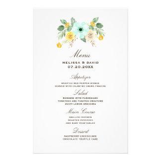 Menu floral da hortelã e do casamento do amarelo flyer 13.97 x 21.59cm