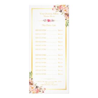 Menu floral da tabela de preços do quadro chique 10.16 x 22.86cm panfleto