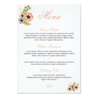 Menu floral do casamento convite 12.7 x 17.78cm