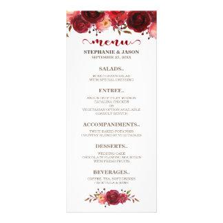 Menu floral do casamento das rosas vermelhas de