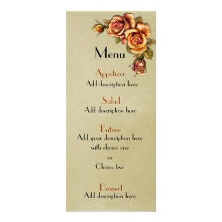 Menu floral do casamento do fulgor do rosa do outo panfletos informativos