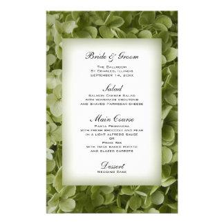 Menu floral do casamento do Hydrangea verde de Papelaria