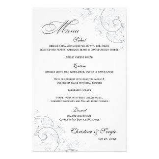Menu floral do casamento do peltre elegante papelaria