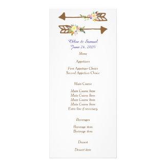 Menu floral do casamento do pêssego 10.16 x 22.86cm panfleto