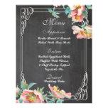 menu floral do casamento do quadro panfletos personalizados