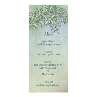 Menu floral do casamento do sussurro azul 10.16 x 22.86cm panfleto