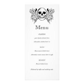 Menu floral preto e branco do tatuagem do crânio 10.16 x 22.86cm panfleto