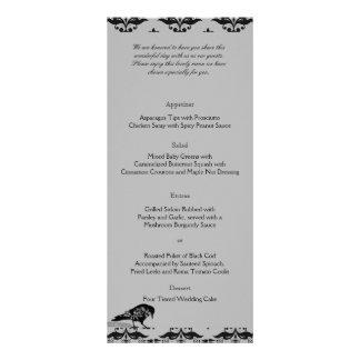 Menu gótico do casamento do quadro do corvo preto 10.16 x 22.86cm panfleto