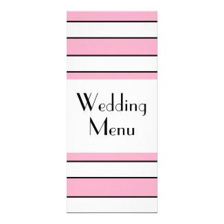 Menu listrado do rosa e o branco do casamento 10.16 x 22.86cm panfleto