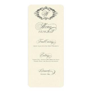Menu luxuoso & elegante do casamento convite 10.16 x 23.49cm