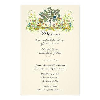 Menu mágico do casamento da floresta do conto de papelaria