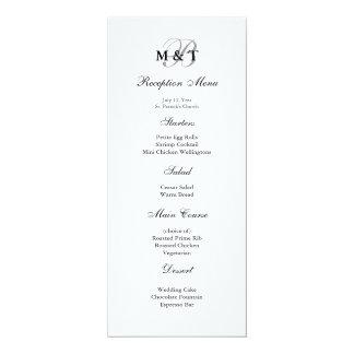 Menu Matte preto & branco do casamento do Convite 10.16 X 23.49cm