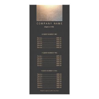 Menu moderno da tabela de preços do salão de 10.16 x 22.86cm panfleto