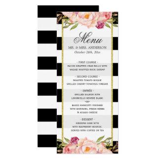 Menu moderno do casamento das listras florais convite 10.16 x 23.49cm