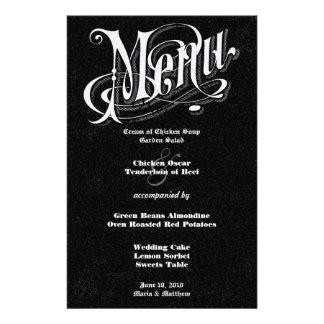 Menu moderno do casamento do quadro da tipografia