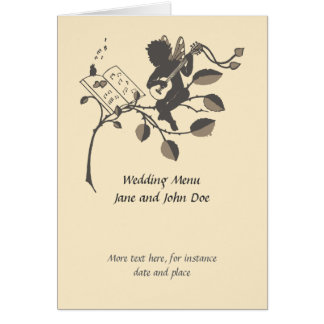 Menu musical do casamento da silhueta do anjo do cartão de nota
