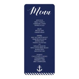 Menu náutico redondo do casamento com listras convite 10.16 x 23.49cm