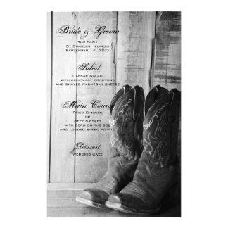 Menu ocidental do casamento do país rústico das papelaria