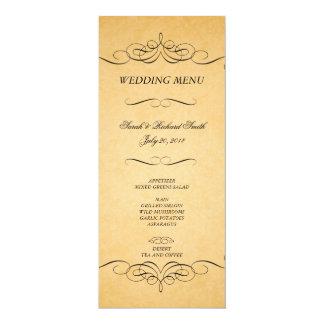 Menu preto do casamento do Flourish dos Convite 10.16 X 23.49cm