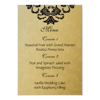 menu preto do casamento do ouro convite 12.7 x 17.78cm