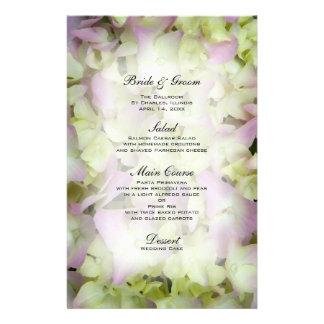 Menu quase cor-de-rosa do casamento do Hydrangea Papelaria