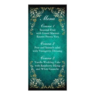 menu régio do casamento do ouro rústico do aqua 10.16 x 22.86cm panfleto