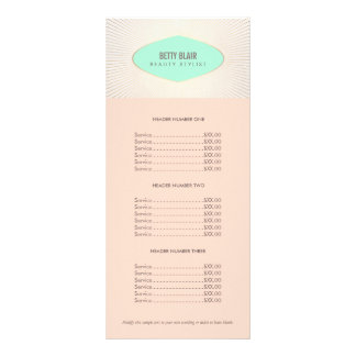 Menu retro da tabela de preços de turquesa e de 10.16 x 22.86cm panfleto
