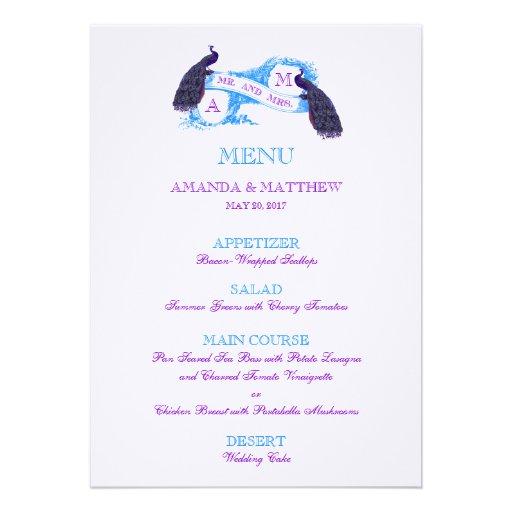 Menu roxo, azul do casamento do pavão convite personalizado