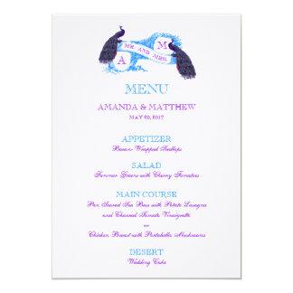 Menu roxo, azul do casamento do pavão convite 12.7 x 17.78cm