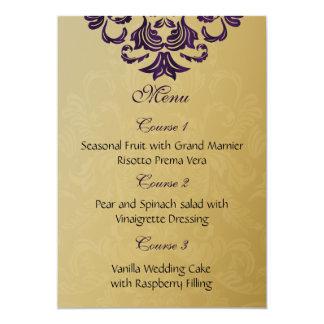menu roxo do casamento do ouro convite 12.7 x 17.78cm