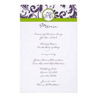 Menu roxo e verde-maçã de Lapis do casamento tema